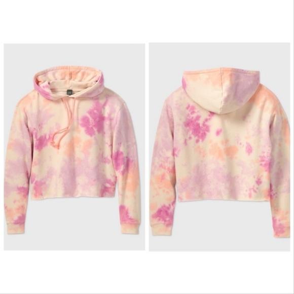 Wild Fable Crop Pink Tie Dye Hoodie